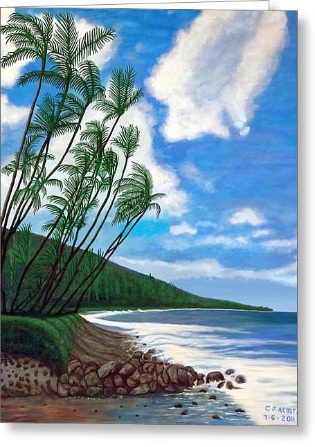 Palm Trees On Beach In Maui Greeting Card by Carlos Acosta