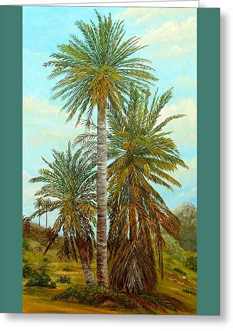 Palm Trees Greeting Card by Angeles M Pomata