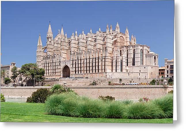 Palma Cathedral La Seu And Almudaina Greeting Card by Panoramic Images