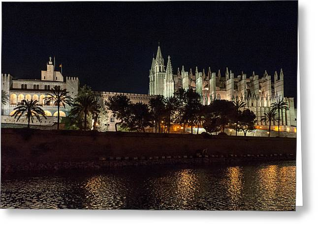 Palma Cathedral Mallorca At Night Greeting Card