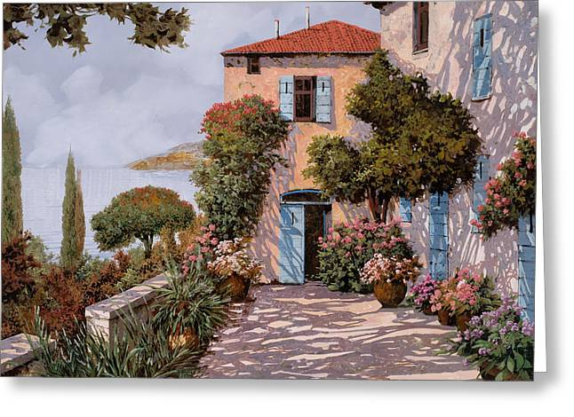 Palmette Viola Greeting Card by Guido Borelli