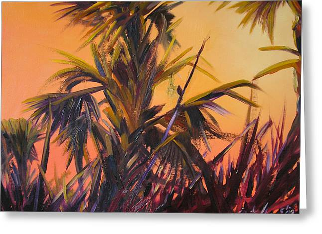 Palmettos At Dusk Greeting Card