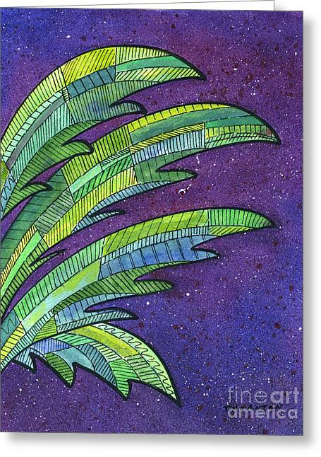 Palms Against The Night Sky Greeting Card by Diane Thornton