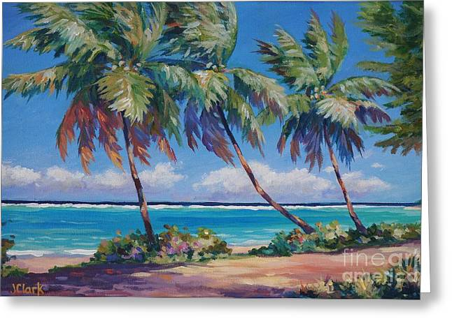 Palms At The Island's End Greeting Card by John Clark
