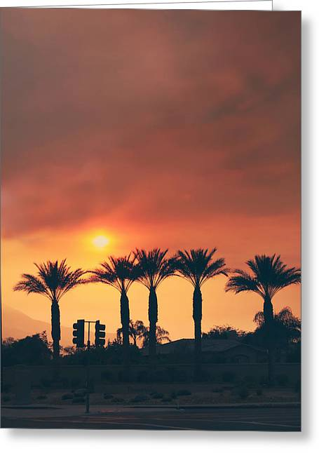 Palms On Fire Greeting Card by Laurie Search