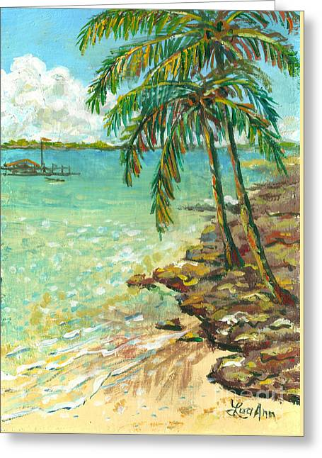 Palms On Point Of Rocks Greeting Card