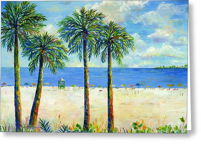 Palms On Siesta Key Beach Greeting Card by Lou Ann Bagnall