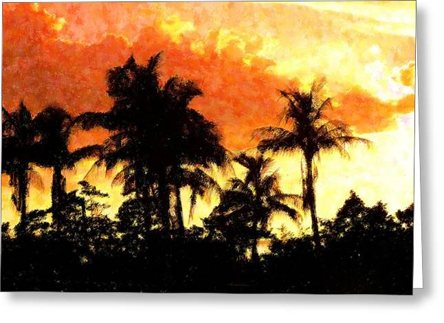 Palms See Red Greeting Card by Florene Welebny