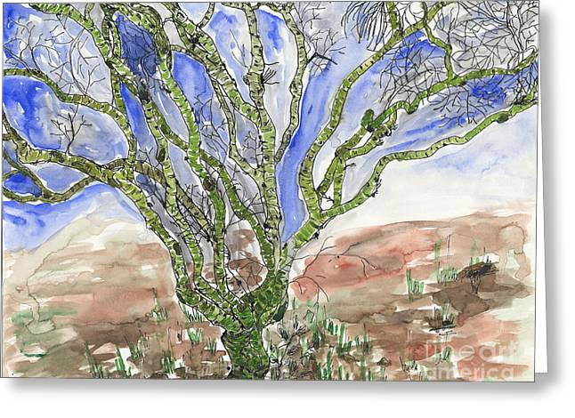 Greeting Card featuring the painting Palo Verde by Mukta Gupta