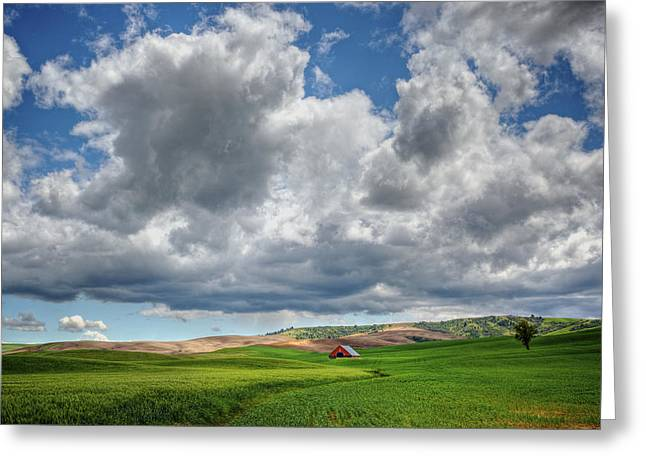 Palouse Country Barn With Storm Clouds Greeting Card