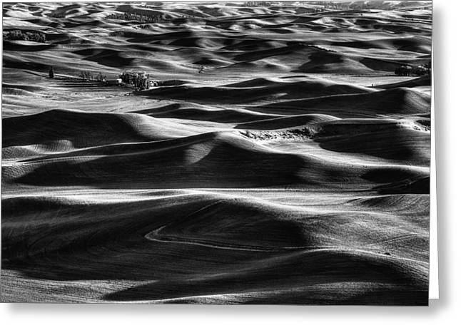 Palouse In Black And White Greeting Card by Mark Kiver