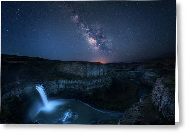 Palouse Waterfall And The Milky Way Greeting Card