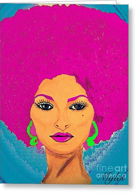 Pam Grier Bold Diva C1979 Pop Art Greeting Card