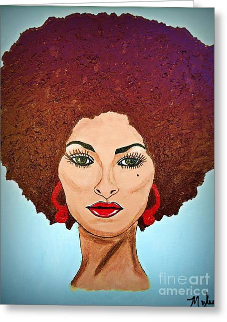 Pam Grier C1970 The Original Diva Greeting Card by Saundra Myles
