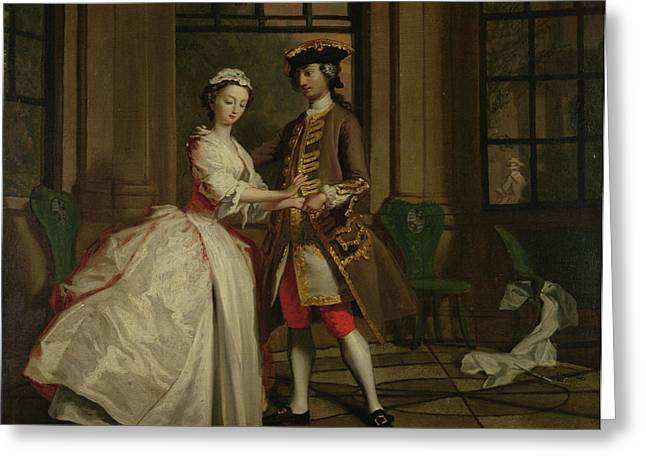 Pamela And Mr B. In The Summerhouse Greeting Card by Joseph Highmore