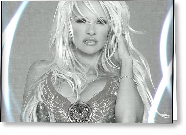 Greeting Card featuring the digital art Pamela Anderson - Angel Rays Of Light by Absinthe Art By Michelle LeAnn Scott