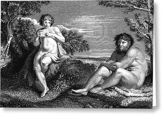 Pan And Apollo Greeting Card by Collection Abecasis