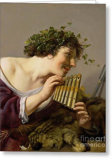 Pan Playing His Pipes Greeting Card by Paulus Moreelse