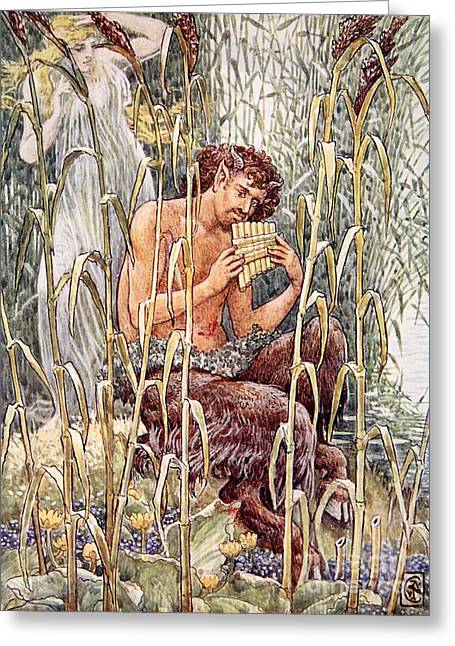 Pan Playing His Pipes Greeting Card by Walter Crane