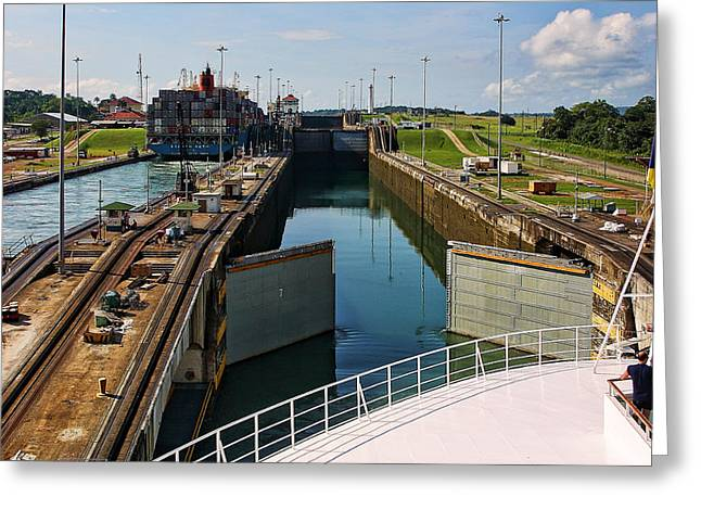 Panama Canal Locks With Ships Greeting Card