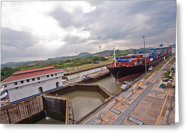 Panama Canal Miraflores Locks Greeting Card