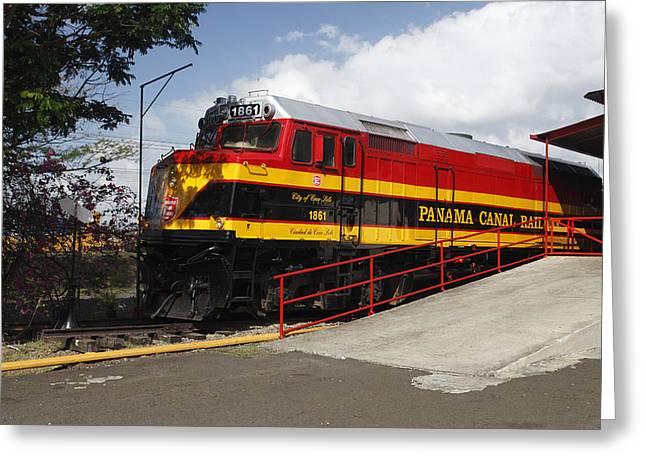 Panama Canal Railway Train Greeting Card by Norman Pogson