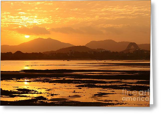 Panama Canal Sunset Greeting Card