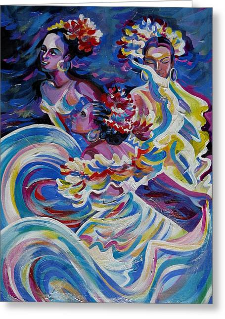 Panama Carnival. Folk Dancers Greeting Card