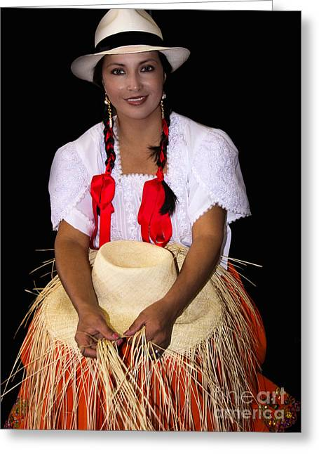 Panama Hat Poster Lady Greeting Card