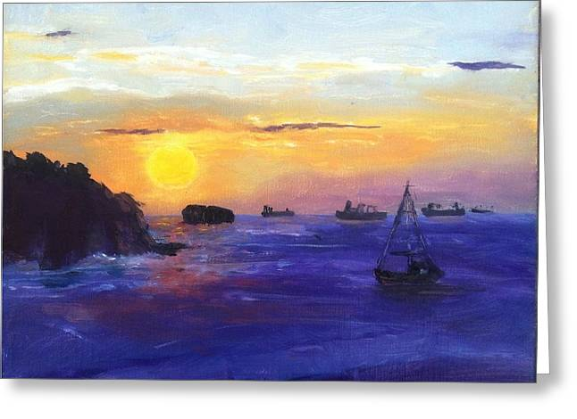 Greeting Card featuring the painting Panama Sunrise by MaryAnne Ardito