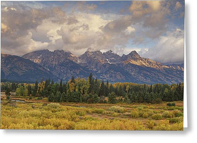 Panaroma Clearing Storm On A Fall Morning In Grand Tetons National Park Greeting Card