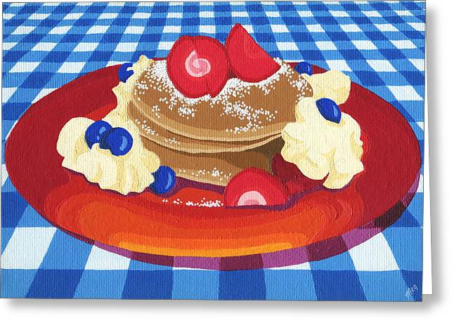 Greeting Card featuring the painting Pancakes Week 10 by Meg Shearer