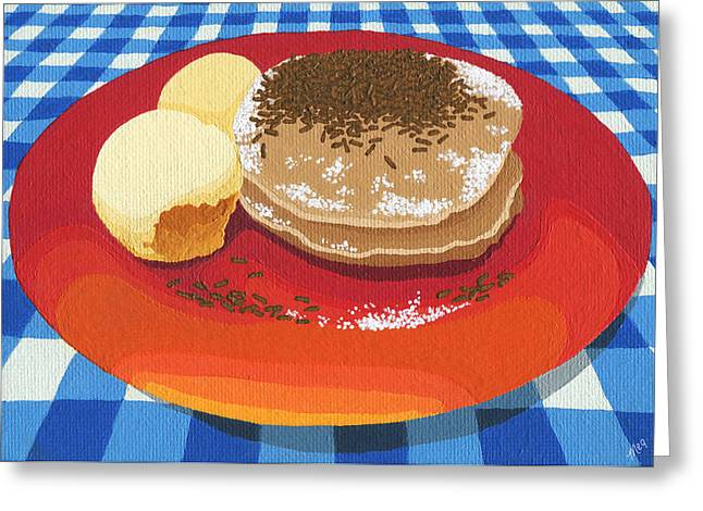 Greeting Card featuring the painting Pancakes Week 15 by Meg Shearer