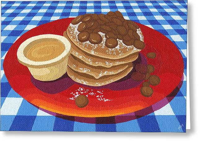 Greeting Card featuring the painting Pancakes Week 4 by Meg Shearer
