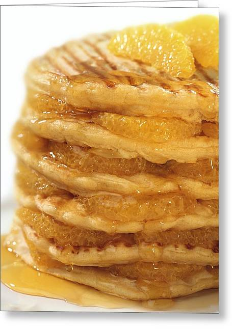 Pancakes With Oranges And Syrup Greeting Card by Science Photo Library
