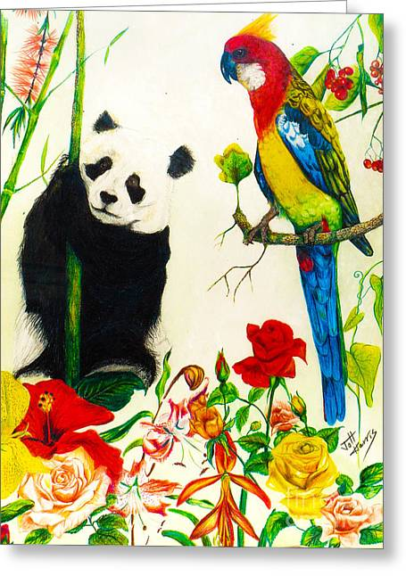 Panda And Parrot Greeting Card