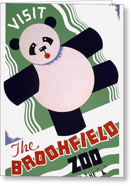 Panda At Brookside Greeting Card by American Classic Art