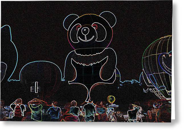 Panda Balloon In Neon Greeting Card