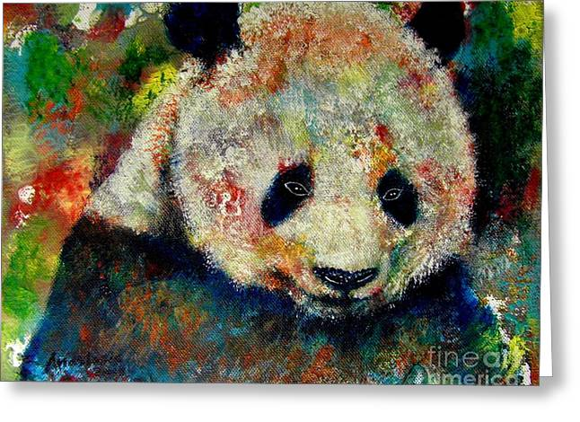 Panda Bear Greeting Card by Anastasis  Anastasi