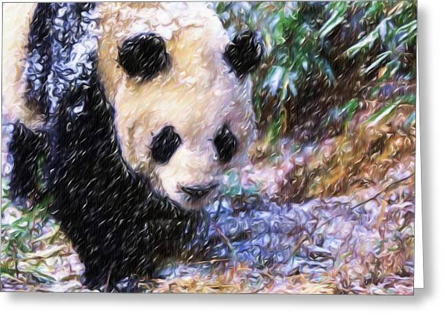 Greeting Card featuring the painting Panda Bear Walking In Forest by Lanjee Chee