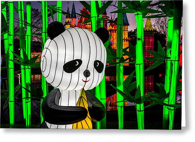 Panda Chinese Lantern Greeting Card by George Buxbaum