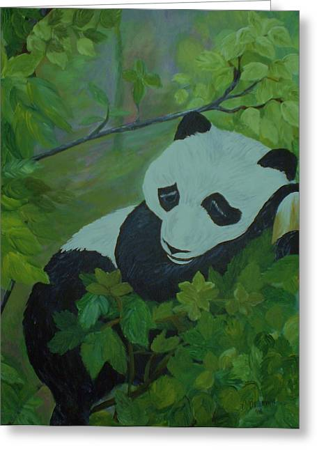 Greeting Card featuring the painting Panda by Christy Saunders Church