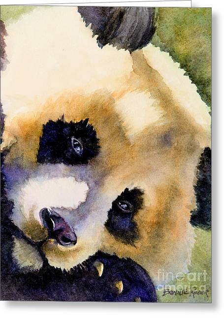 Greeting Card featuring the painting Panda Cub by Bonnie Rinier