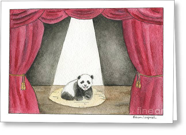 Panda Cub On Center Stage Greeting Card by Erica Vojnich