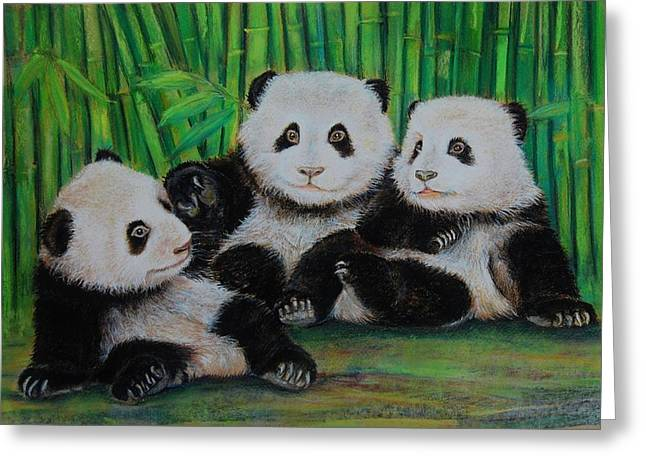 Panda Cubs Greeting Card by Jean Cormier