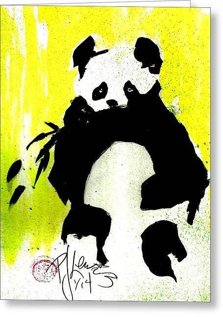 Panda Haiku Greeting Card by P J Lewis