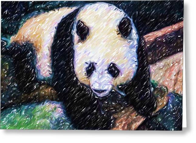 Greeting Card featuring the painting Panda In The Rest by Lanjee Chee