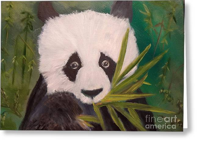 Greeting Card featuring the painting Panda by Jenny Lee