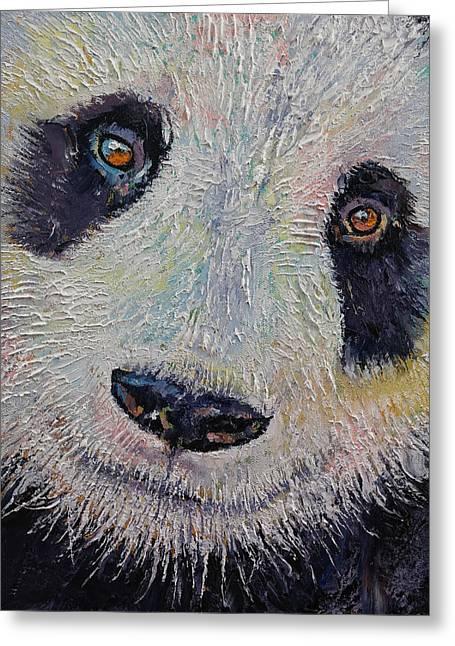 Panda Portrait Greeting Card by Michael Creese