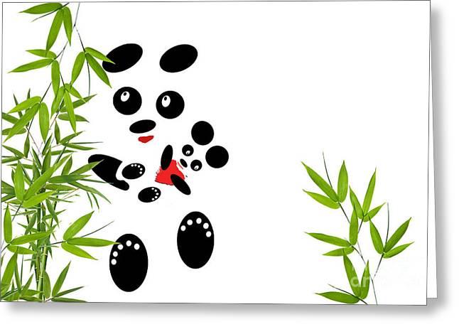Panda Mom With A Baby Greeting Card by Ausra Huntington nee Paulauskaite
